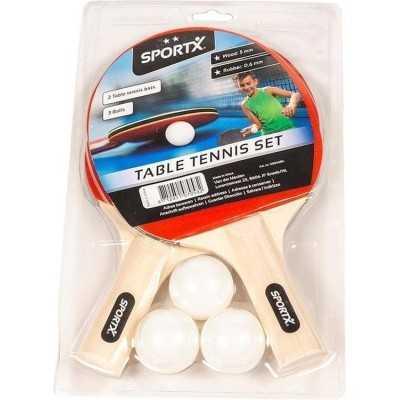 2x Tafeltennis batjes sport set met 3 ballen - 1
