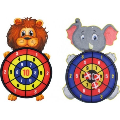 Kinder dartbord met ballen Leeuw en Olifant 2 stuks - 1