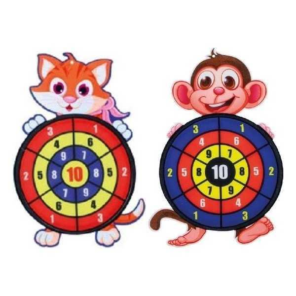 Kinder dartbord met ballen Kat en Aap - 1
