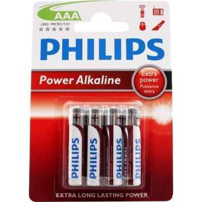 Philips Batterijen Aaa Power Alkaline Zilver/rood 4 Stuks - 1