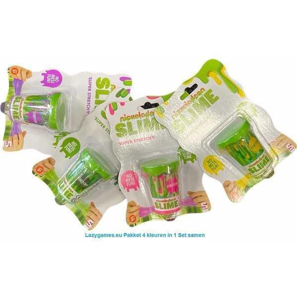 Slijm pakket - SLIME 'Super Stretchy' Pakket 4 kleuren in 1 Set samen - Nickelodeon - 1