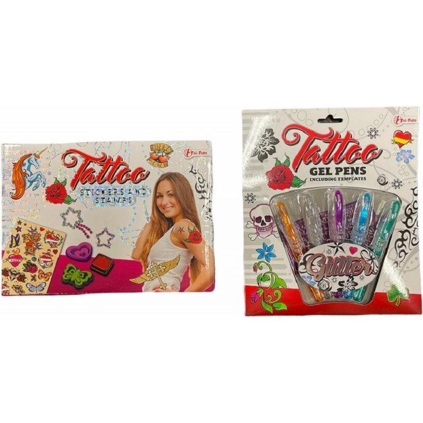 Tattoo pakket - Gelpennen 5-delig en Stickers en Stempels vanaf 5 jaar - samen 1 set - 1