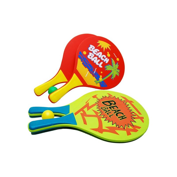 Beachball-set hout + Balletje - gekleurd Oranje of Geel - 8 mm dik - Afmeting 38 x 23.5 cm - 1
