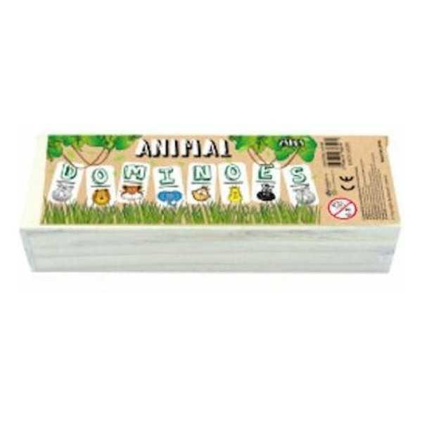 Houten domino wilde dieren in kistje klein formaat - 1